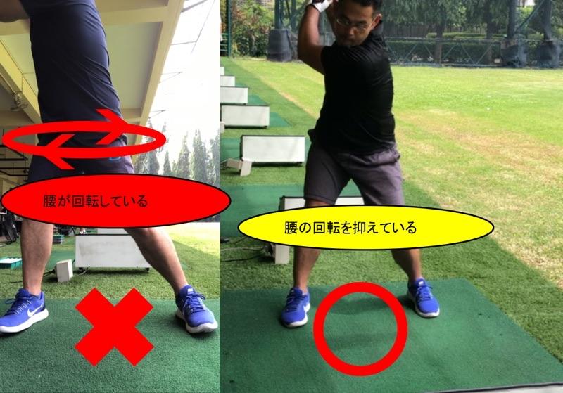 両肩を結ぶ線は回転させるが腰は回転させない