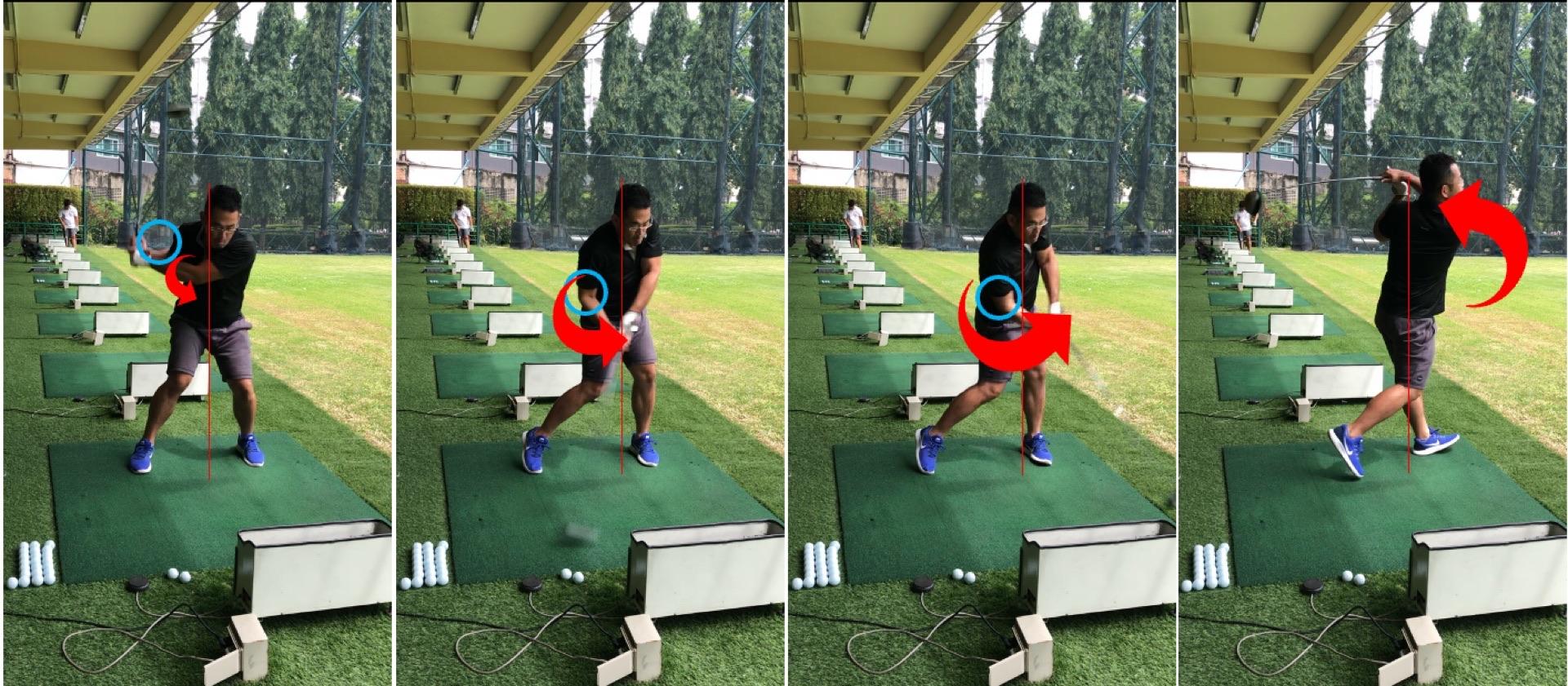 ゴルフスイングと右肘の動き